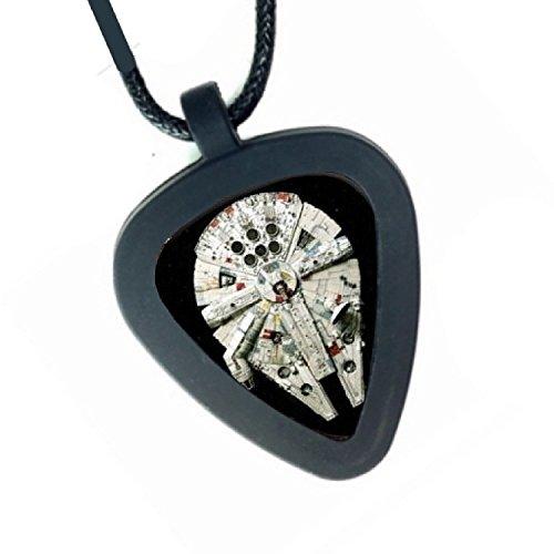 (Pickbandz Mens or Womens Real Star Wars Millennium Falcon Guitar Pick Necklace)