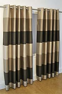Brasil marrón a rayas BEIGE seda sintética 116,84 cm X 228,6 cm con anillas cortinas #OIR
