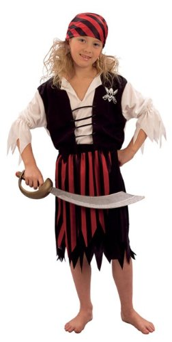 Pirates Caribbean Costumes Uk (Pirate Girl Caribbean Childs Fancy Dress Costume L 146cms)