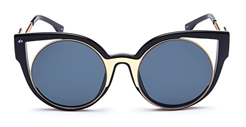 "PRIVE REVAUX ""The Feminist"" Handcrafted Designer Cat-Eye Sunglasses (Black/Gold)"