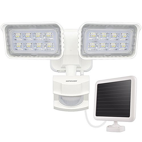 Permanent Patio Light - LEPOWER 1500LM Solar Lights Outdoor, LED Motion Sensor Security Light, 6000K, IP65 Waterproof, Adjustable Head Flood Light with 2 Modes Automatic and Permanent on, for Entryways, Patio, Yard