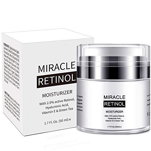 Retinol Cream Moisturizer for Face,2.5% Active Retinol,Hyaluronic Acid,Vitamin E,Green Tea and Jojoba Oil,Fights the Appearance of Wrinkles, Fine Lines-1.7 OZ