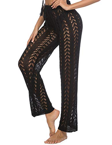 Kistore Women's Wide Leg Crochet Pants with Drawstring Tie Up Casual Black Pants Cover Up