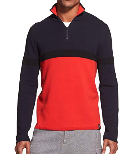 (DKNY Mens Navy Small 1/2 Zip Mock-Neck Colorblock Sweater Red S)