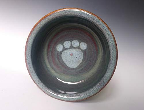 Large Pet Dog Cat Food Water Dish Bowl ~ Stone Color with Light Blue Swirl ~ Handmade Stoneware Ceramic