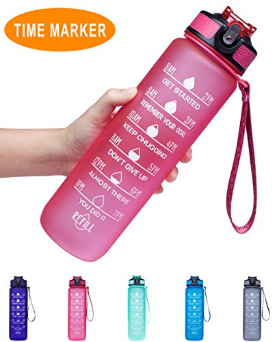 Venture Pal 32oz Leakproof Tritran BPA Free Water Bottle with Motivational Time Marker & Straw to Ensure You Drink Enough Water Throughout The Day for Fitness,Gym and Outdoor Sports-Pink (Perfect Amount Of Water For Bottle Flip)