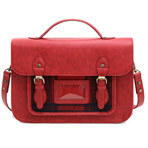 (ECOSUSI Laptop Messenger Bag for Women Vintage PU Leather Briefcase Satchel Purse with 13 inch Laptop Sleeve, Red)
