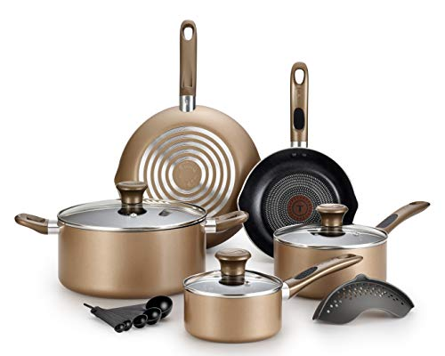 T-fal B036SE64 B036SE Excite ProGlide Nonstick Thermo-Spot Heat Indicator Dishwasher Oven Safe Cookware Set, 14-Piece, Bronze (Piece Cookware Fal T 14 Set)