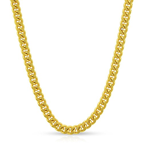 10k Yellow Gold 3.5mm Solid Miami Cuban Curb Link Necklace Chain 16'' - 30'' (26) by In Style Designz