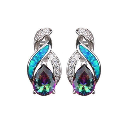 Sterling Silver Stud Earring Yellow Gold Blue Opal Mystic Topaz Sapphire Women Jewelry (Silver Fire ()