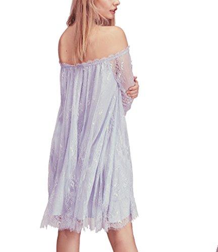 Bessla Women's Lace Trapeze Bat sleeve Loose Fashion Prom Fancy Party Mini Dress