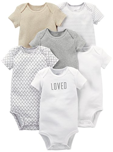 Simple Joys by Carter's Baby 6-Pack Short-Sleeve Bodysuit, White/Grey, 18 Months