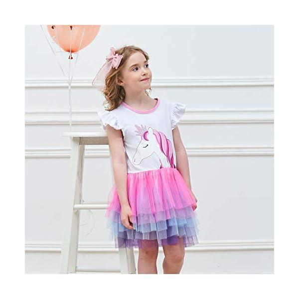 VIKITA Vestito Cotone Stampa Principessa Tulle Tutu Festa di Compleanno Abito Bambina 7
