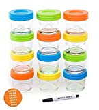 glass baby food - Glass Baby Food Storage Containers - Set contains 12 Small Reusable 4oz Jars with Airtight Lids - Safely Freeze your Homemade Baby Food