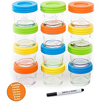 glass baby food storage containers set contains 8 small reusable 8oz jars with. Black Bedroom Furniture Sets. Home Design Ideas