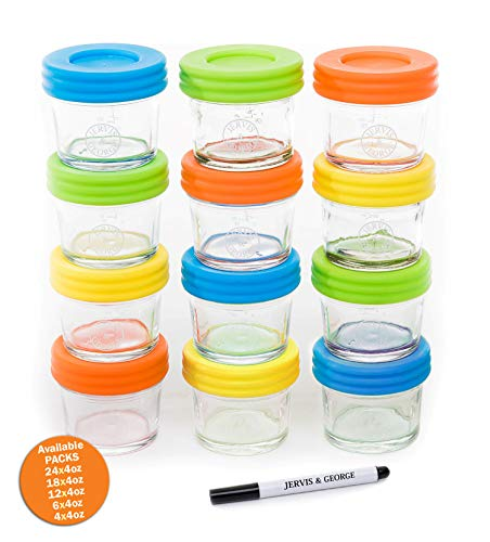 Glass Baby Food Storage Containers - Set contains 12 Small Reusable 4oz Jars with Airtight Lids - Safely Freeze your Homemade Baby Food ()