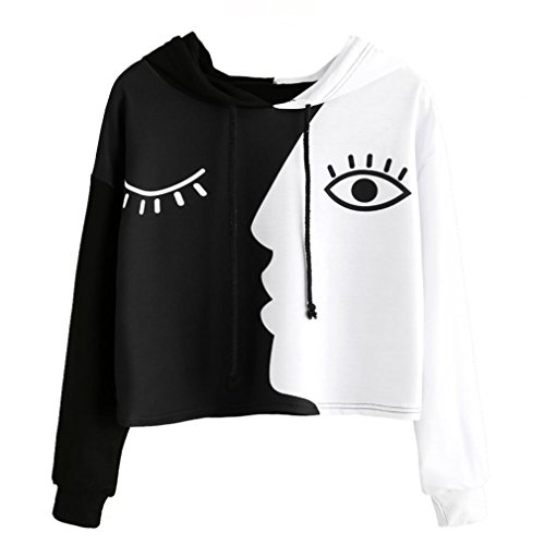 Siviki Womens Crop Patchwork Blouse Long Sleeves Hooded Tops Ladies Sweatshirt at Amazon Womens Clothing store: