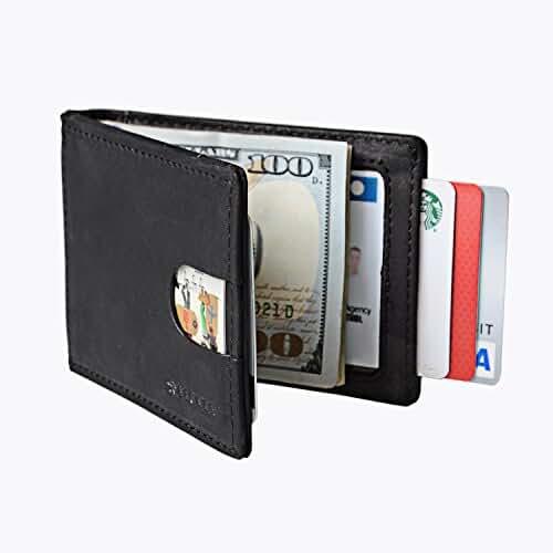 Becken Minimalist Wallet - Leather, RIFD Blocking, Bifold, Slim Front Pocket for Men with Money Clip