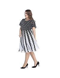 Polka Dot Evening Gown Chiffon Splicing Large Sleeve Short Sleeve Tutu 7 Sizes (Size : 6XL)