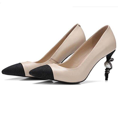 W&LM Puntera de sandalias de mujer Puntera de superficie de malla Zapato de cuero genuino de tacones altos Black