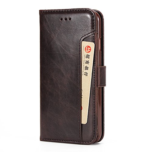 Cubix Wallet Case Leather Flip Cover for Apple iPhone 6 / iPhone 6s  4.7 Inch   Brown