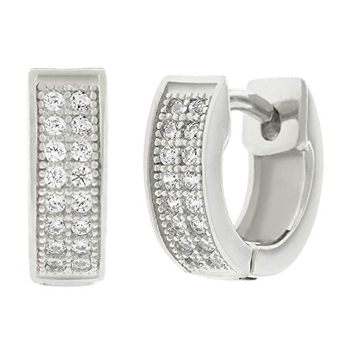 - .925 Sterling Silver Womens Cubic Zirconia CZ Double Row Round Clear Micro Pave Prong Set Small Cute Huggie Hoop Earrings (White)