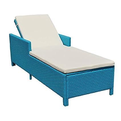 Tremendous Amazon Com Turquoise 1 Person Sunbed Wicker Rattan Machost Co Dining Chair Design Ideas Machostcouk