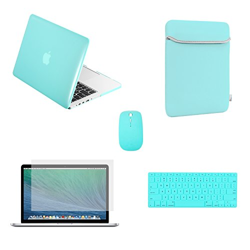 TopCase Rubberized Case for Macbook Pro 15-Inch A1398 Bundle with Sleeve Bag, Wireless Mouse, Silicone Keyboard Cover, Clear Screen Protector and Mouse Pad - Hot Blue/Turquoise