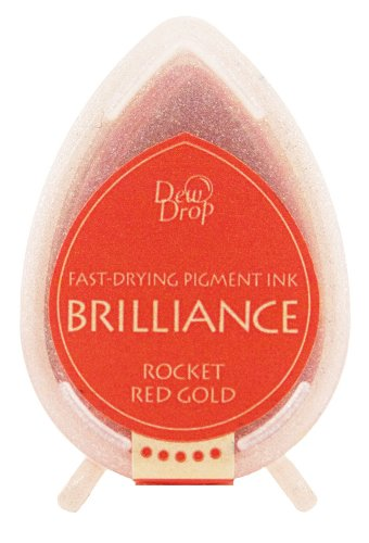 Tsukineko Brilliance Dew Drop Inkpad, Rocket Red (Dew Drops Scrapbooking)