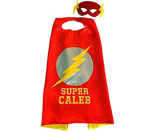 Personalized Superhero Cape and Mask Set by Thimbleful Threads (Lightning Bolt cape with yellow embroidery)