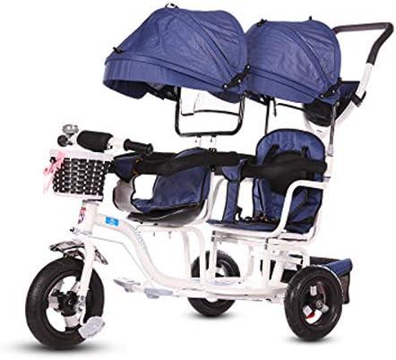 JHGK Triciclo para Niños, Carro De Parasol Doble con Ruedas De Titanio, Triciclo para Niños, Compras En Ciudad Doble De Acero con Alto Contenido De Carbono, Triciclo De Empuje Tricycle,3
