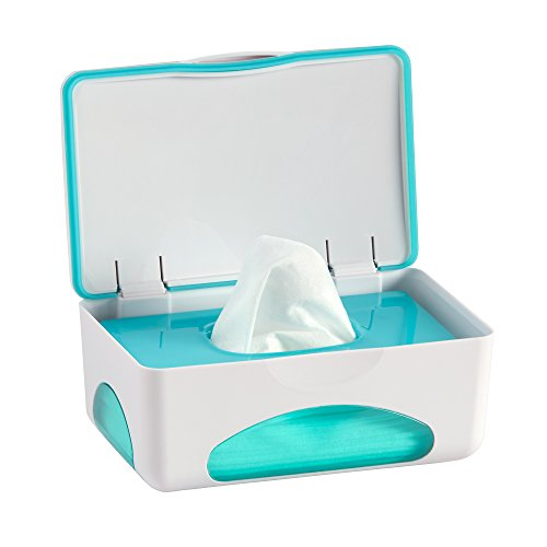 hiccapop Baby Wipe Dispenser | Baby Wipes Case | Baby Wipe Holder Keeps Diaper Wipes Fresh | Non-Slip, Easy Open & Close Wipe Container (Teal)
