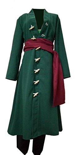 One Piece Roronoa Zoro Costume Green Cosplay Coat Outfit L