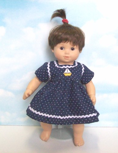 Navy Polka Dot Dress with Embroidered Sailboat. Fits 15″ Dolls like Bitty Baby® and Bitty Twin®, Baby & Kids Zone