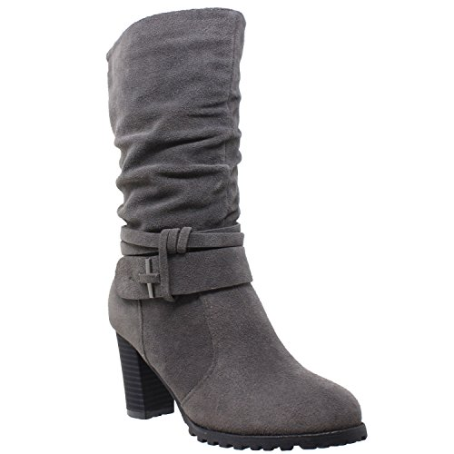 (Generation Y Womens Mid Calf Boots Faux Suede Ruched Strap Stacked Block Heel Shoes Gray SZ 9)