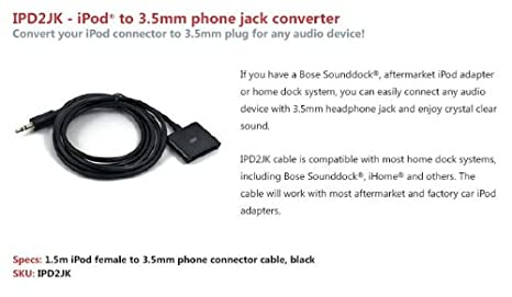 GROM Audio Dock Conversion Cable, Connect any Audio output to a 30 on
