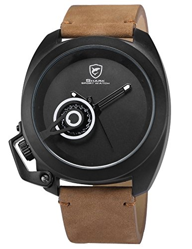 (Tawny Shark Men's SH451 Quartz Brown Crazy Horse Leather Strap Black Dial Date Display Wrist Watch)