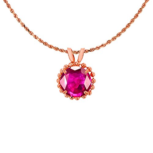 14K Rose Gold 6mm Round Cut Created Ruby with Bead Frame Rabbit Ear 18