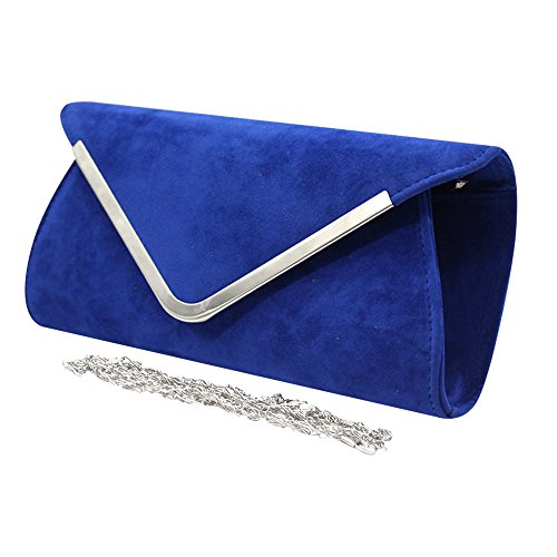 Handbag Envelope Purse New Velvet Blue Wiwsi Blue Trim Bag Lady Shoulder Royal Royal Clutch Large Girl FSIFxnEq