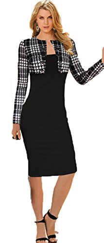 Babyonline Women Colorblock V Neck Long Sleeve Business Party Bodycon Dress by Babyonlinedress