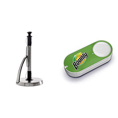 Oxo Paper Towel Holder (OXO Good Grips SimplyTear Standing Paper Towel Holder, Brushed Stainless Steel & Bounty Dash Button)