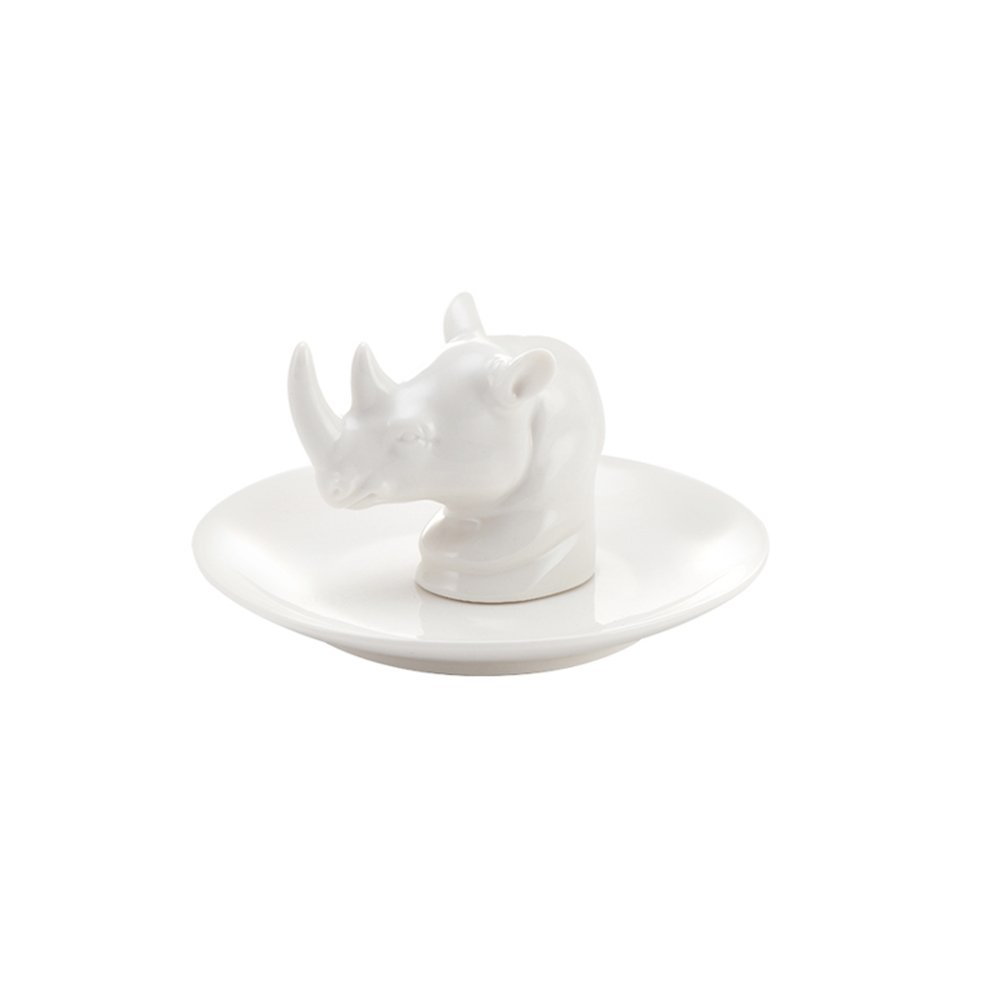 Colias Wing Home Decoration Desk Ornaments-Lovely Animal Rhinoceros Stylish Design Ceramic Trinkets Tray Necklace Earrings Rings Stand Display Organizer Holder Jewelry Holder Decor Dish Plate-White