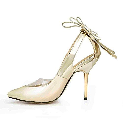Dolphinbanana Jurk Stilettos Puntige Boog Hakken Sandalen Dame Multi Kleuren Prom Bruiloft Partij Club Pumps Schoenen Prime Gouden