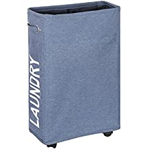 WISHPOOL Slim Rolling Laundry Hamper Foldable Laundry Basket with Handle on Wheels 15.4X7.8X22 Inch(Blue)