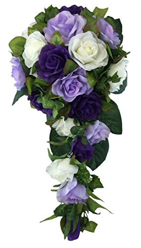 Purple, Lavender and Ivory Silk Rose Cascade - Bridal Wedding Bouquet