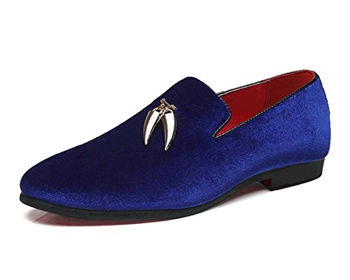 Men Blue Suede Shoes - XIUWU Men's Suede Formal Dress Oxford Shoes Pointed Toes Footwear US10 Royal Blue