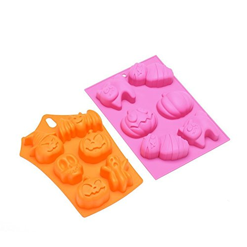 FantasyDay 2 Pack Halloween Pumpkin Mummy Cat Silicone Mold Chocolate Wafer Mold Ice Cube Tray for Holiday Chocolate, Muffin Cups, Wafer, Cake Toppers, Bath Bombs, Soaps and More #1]()