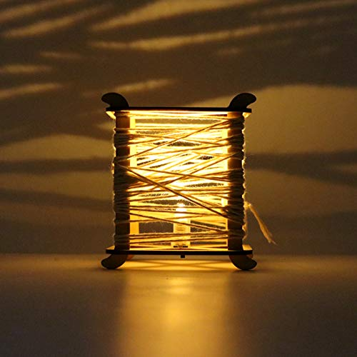 lightclub Wooden DIY Lantern LED Light Hemp Rope Chinese Knot Hanging Ornament Party Decor Decorative Night Lights Wood ()