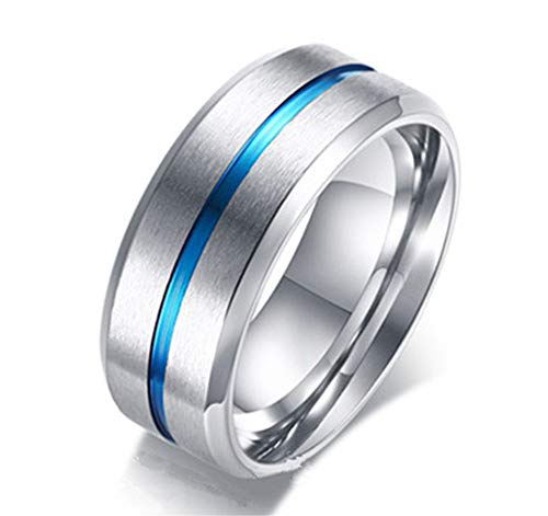 Reizteko Classic 8mm Stainless Steel Blue Tone Tungsten Wedding Band Ring Polished Finish Grooved Center Comfort Fit (8)
