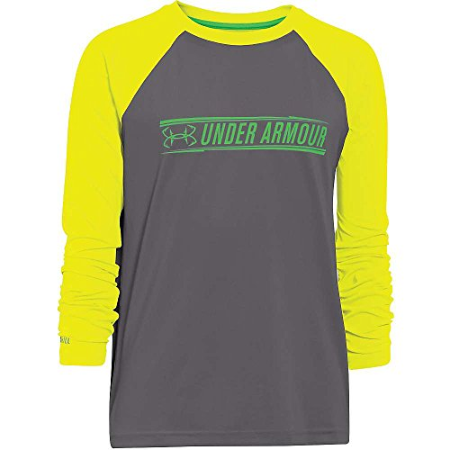 Under Armour Boys Ua Iso Chill Element Ls Top Graphite   Yellow Ray   Green Energy Xl